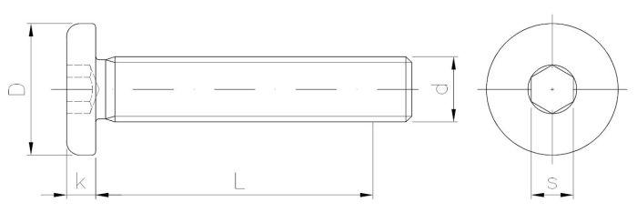 Wkręt metryczny z łbem walcowym, wgłębieniem imbusowym z gwintem na całości (z wprowadzeniem)