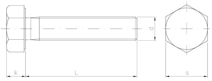 INOX Śruba z łbem 6-kątnym z gwintem na całości