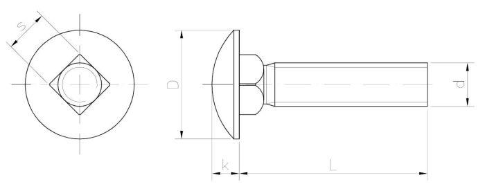 INOX Śruba zamkowa z łbem grzybkowym z gwintem na całości