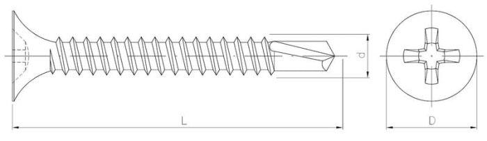 Wkręt do płyt kartonowo-gipsowych z wiertłem do profili metalowych