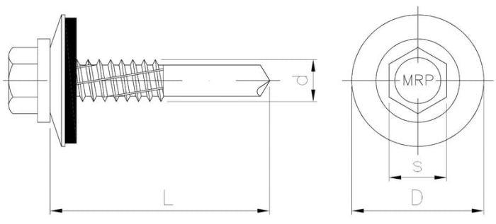 Wkręt samowiercący do mocowania blach do stali z podkładką EPDM