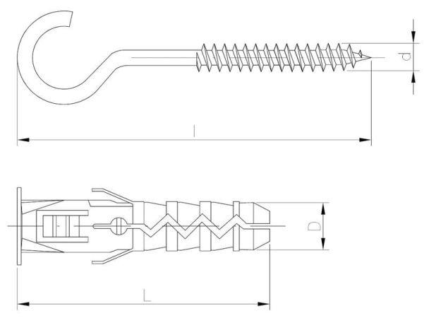 Kołek rozporowy zwykły z hakiem sufitowym typu C