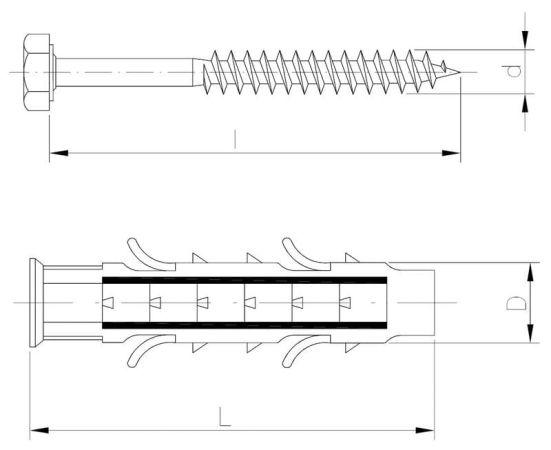 Kołek rozporowy wielostronny z wkrętem z łbem sześciokątnym PowerFix