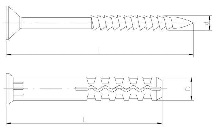 Kołek szybkiego montażu z kołnierzem lejkowym z gwoździowkrętem