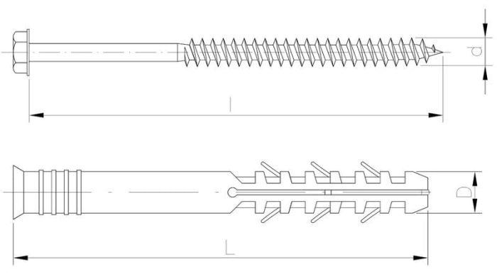 Kołek ramowy z wkrętem z łbem sześciokątnym PowerSpace