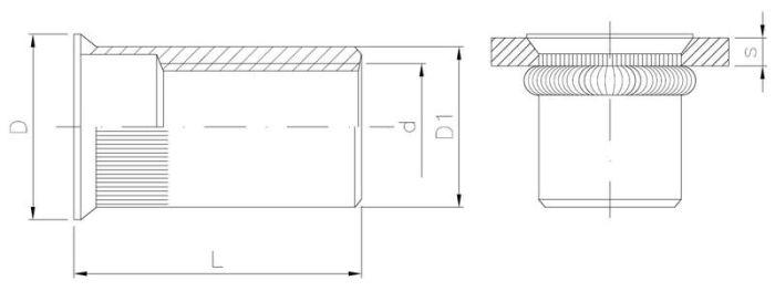 Nitonakrętka otwarta stalowa radełkowana z kołnierzem stożkowym MINI