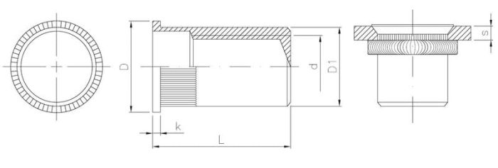 Nitonakrętka zamknięta stalowa radełkowana z kołnierzem stożkowym MINI