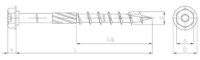 Wkręt do konstrukcji drewnianych z łbem 6-kątnym z podkładką i TX