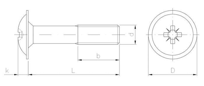 Wkręt metryczny z łbem z podkładką z gwintem na części
