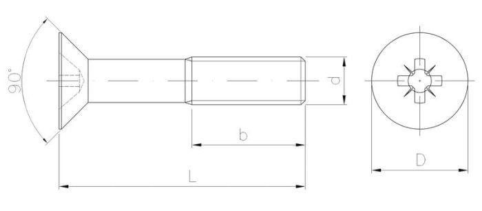 Wkręt metryczny z łbem stożkowym z gwintem na części