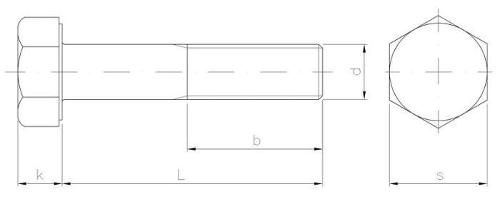 Śruba z łbem 6-kątnym z gwintem na części