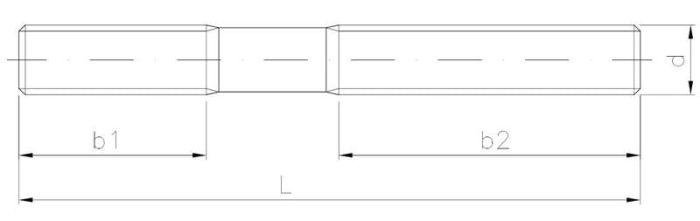 Szpilka dwustronna z gwintem metrycznym na części