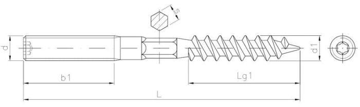 Szpilka dwustronna z gwintem do drewna i metrycznym z przetłoczeniem 6-kątnym