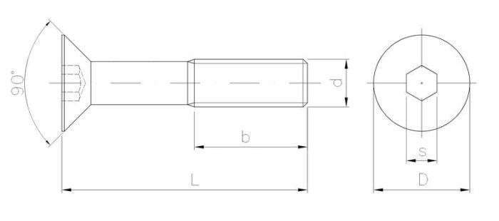 Wkręt metryczny z łbem stożkowym, wgłębieniem imbusowym z gwintem na części