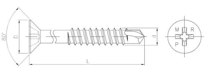 Wkręt samowiercący z łbem stożkowym do montażu słupka