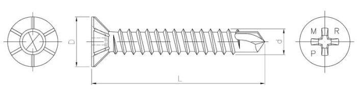 Wkręt samowiercący z łbem stożkowym z karbami do stolarki PVC