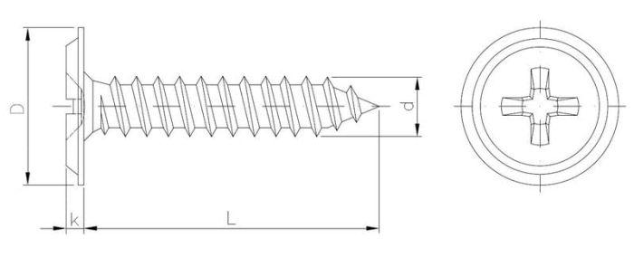 Wkręt montażowy do blach z łbem podkładkowym