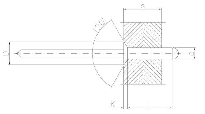 Nit zrywalny ALU/STAL z łbem wpuszczanym 120°