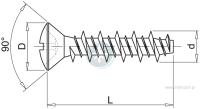 Wkręt do tworzyw sztucznych z łbem soczewkowym z gwintem HILO z wprowadzeniem